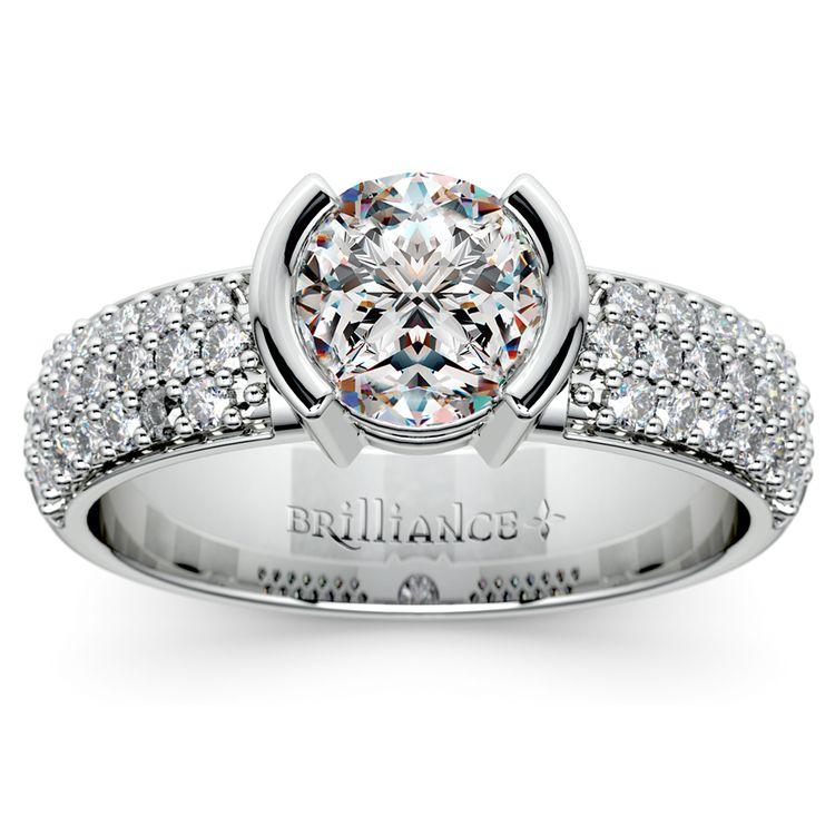 Half Bezel Diamond Engagement Ring in Platinum (3/8 ctw)  | 01