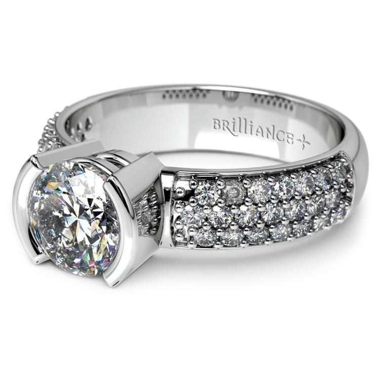 Half Bezel Diamond Engagement Ring in Platinum (3/8 ctw)  | 04
