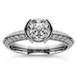 Half Bezel Knife Edge Diamond Engagement Ring in White Gold | Thumbnail 01