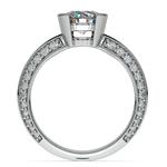 Half Bezel Knife Edge Diamond Engagement Ring in White Gold | Thumbnail 02