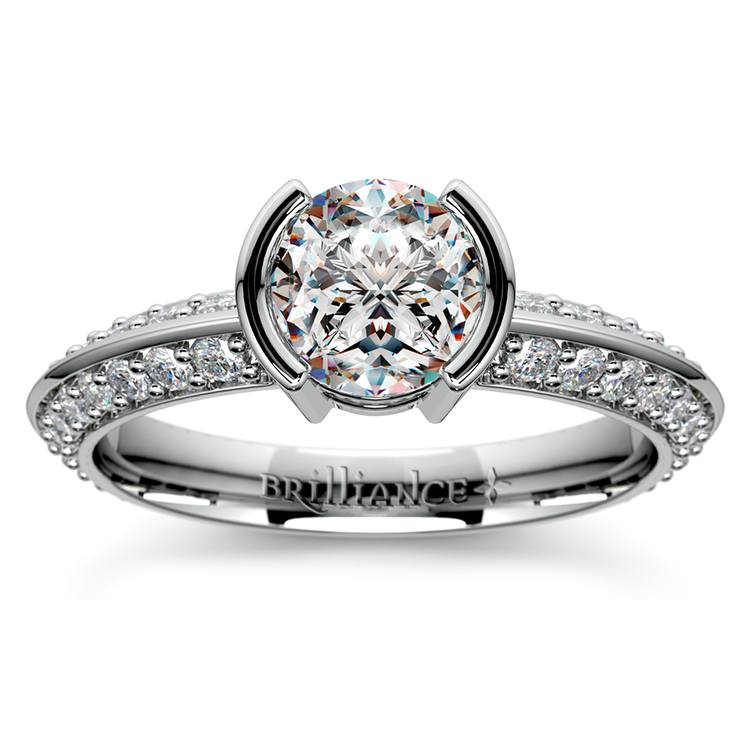 Half Bezel Knife Edge Diamond Engagement Ring in White Gold | 01