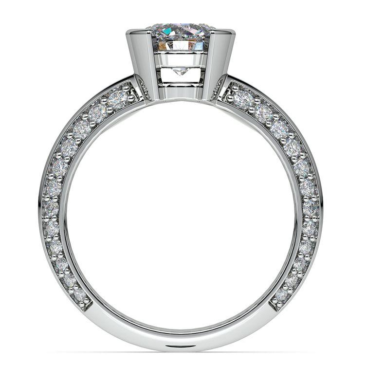 Half Bezel Knife Edge Diamond Engagement Ring in White Gold | 02