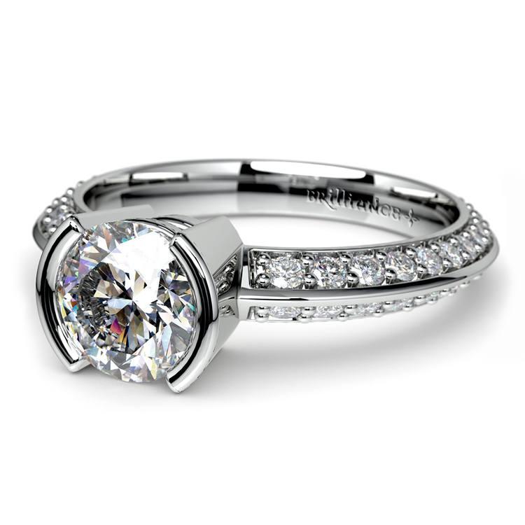Half Bezel Knife Edge Diamond Engagement Ring in White Gold | 04