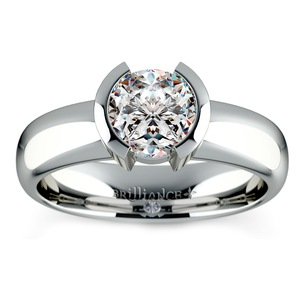 Half Bezel Solitaire Engagement Ring in Platinum