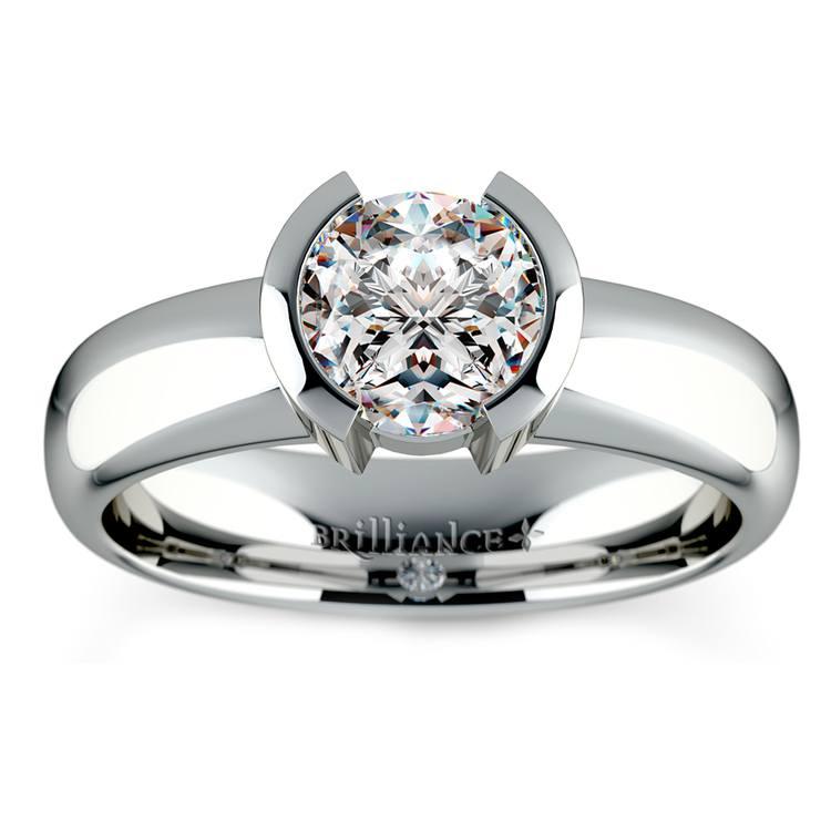 Half Bezel Solitaire Engagement Ring in Platinum | 01