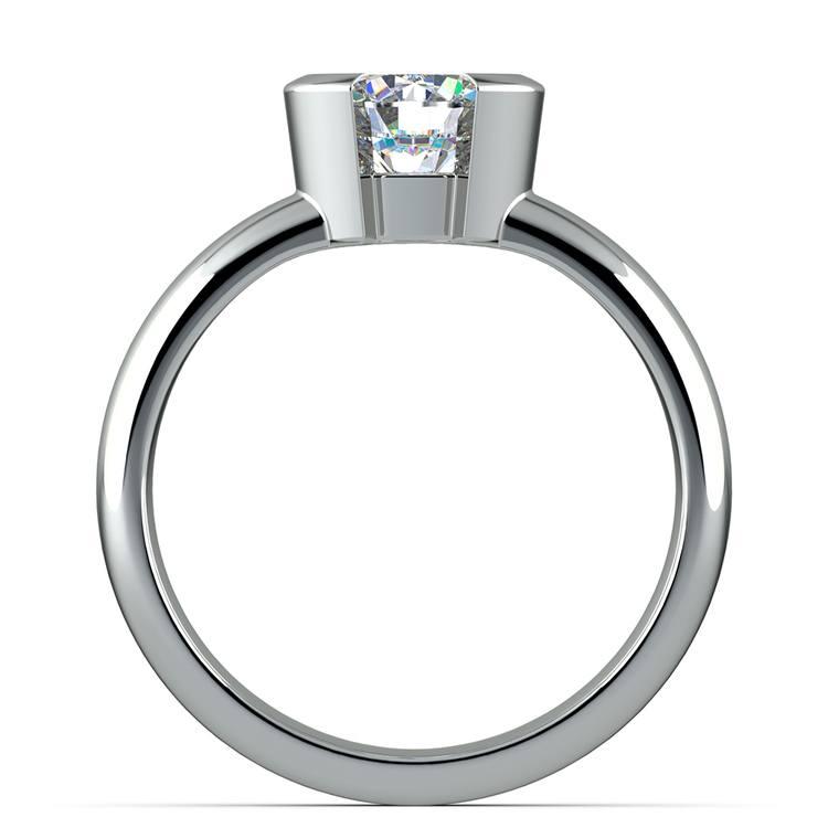 Half Bezel Solitaire Engagement Ring in Platinum | 02