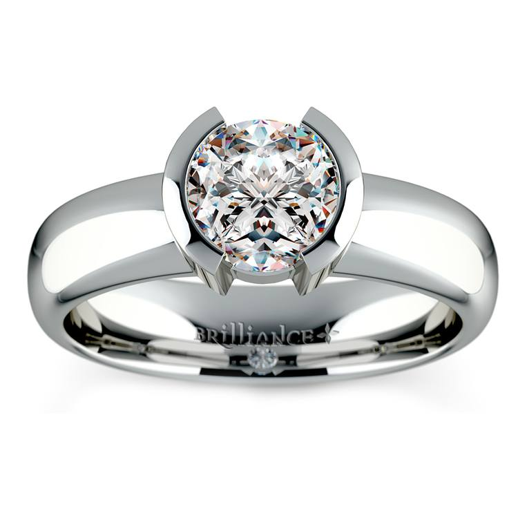Half Bezel Solitaire Engagement Ring in White Gold | 01