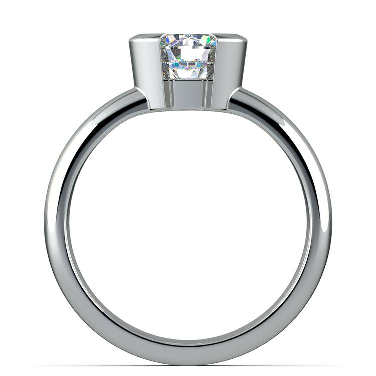 Half Bezel Solitaire Engagement Ring in White Gold | 02