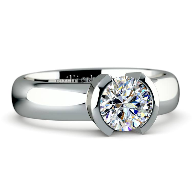 Half Bezel Solitaire Engagement Ring in White Gold | 04