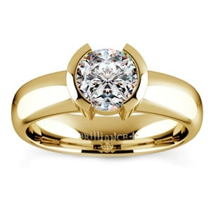 Half Bezel Solitaire Engagement Ring in Yellow Gold