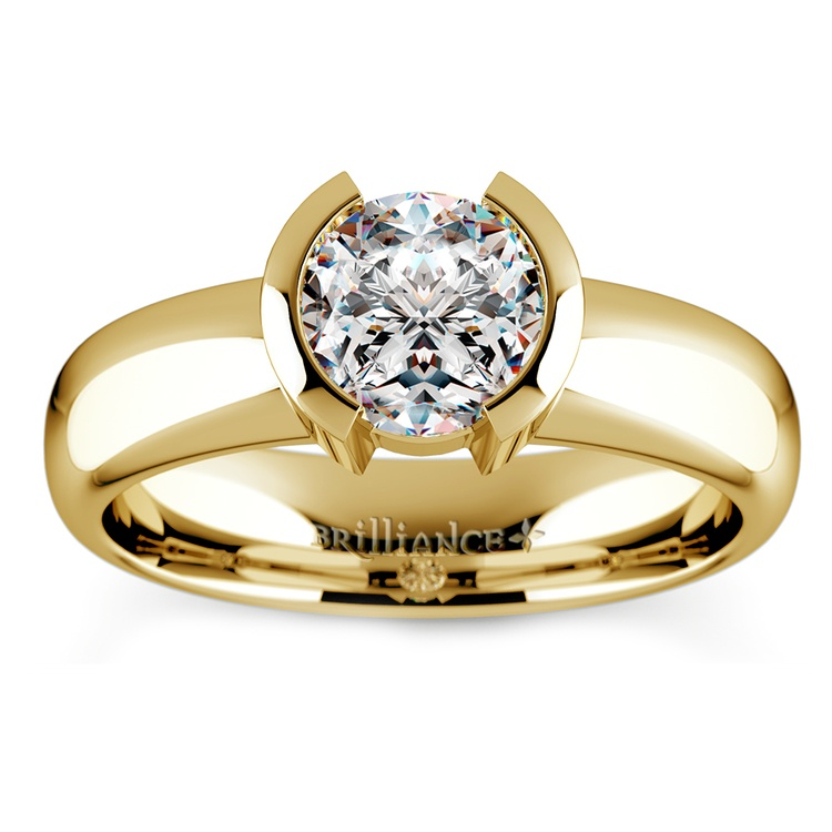 Half Bezel Solitaire Engagement Ring in Yellow Gold | 01