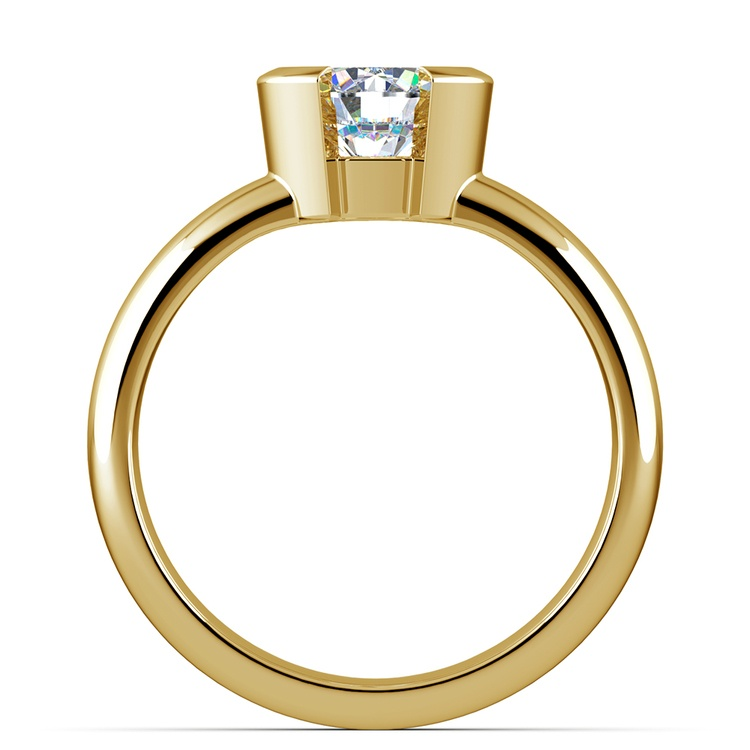Half Bezel Solitaire Engagement Ring in Yellow Gold | 02