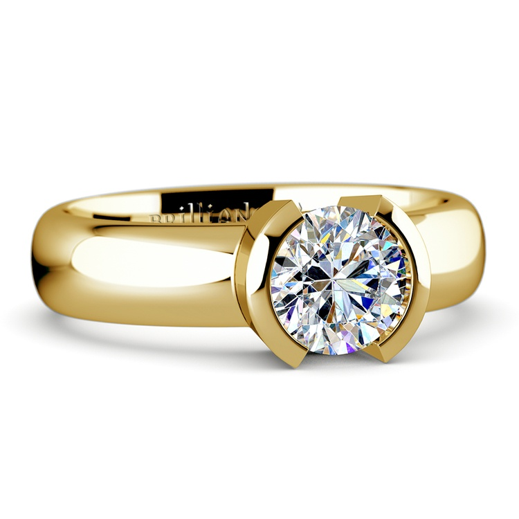 Half Bezel Solitaire Engagement Ring in Yellow Gold | 04