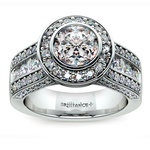 Halo Bezel Diamond Engagement Ring in Platinum | Thumbnail 01