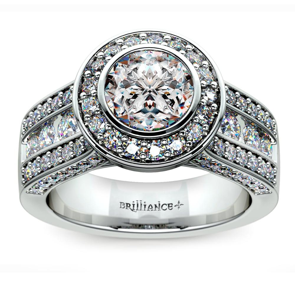 Halo Bezel Diamond Engagement Ring In Platinum