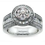 Halo Bezel Diamond Engagement Ring in White Gold | Thumbnail 01