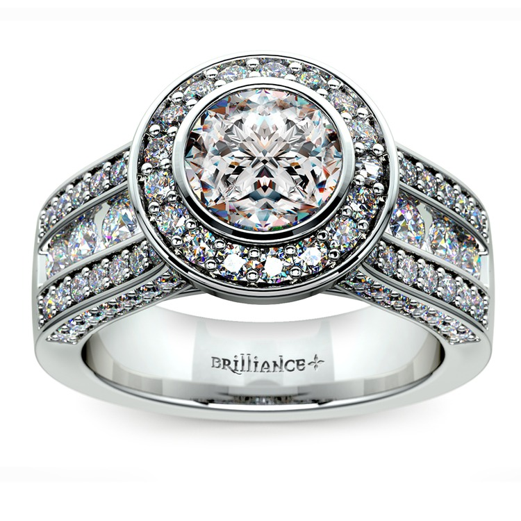 Halo Bezel Diamond Engagement Ring in White Gold | 01