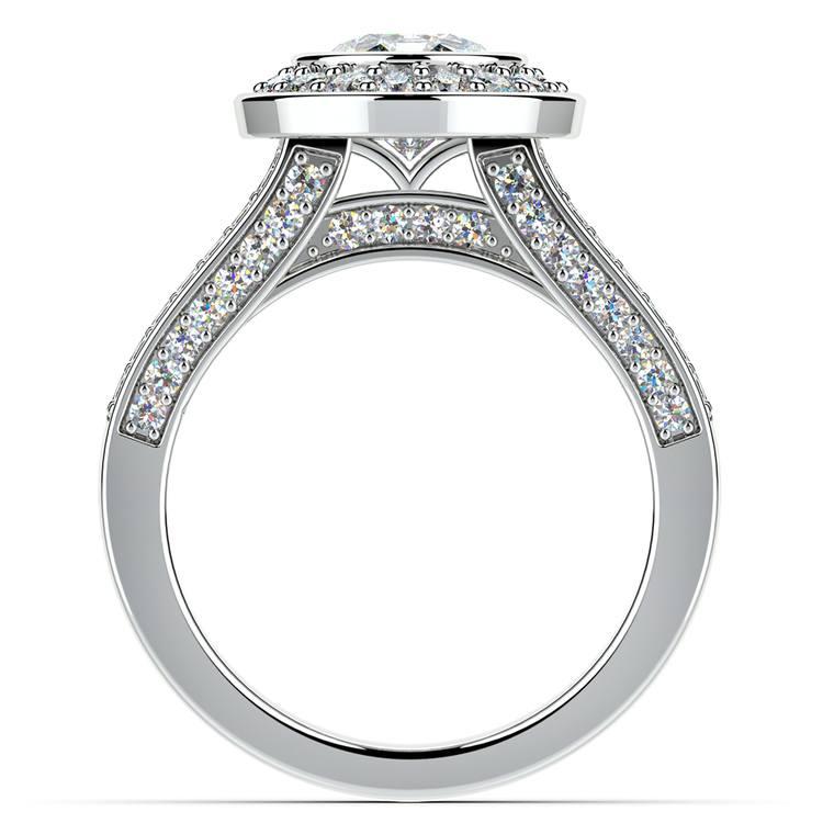 Halo Bezel Diamond Engagement Ring in White Gold | 02