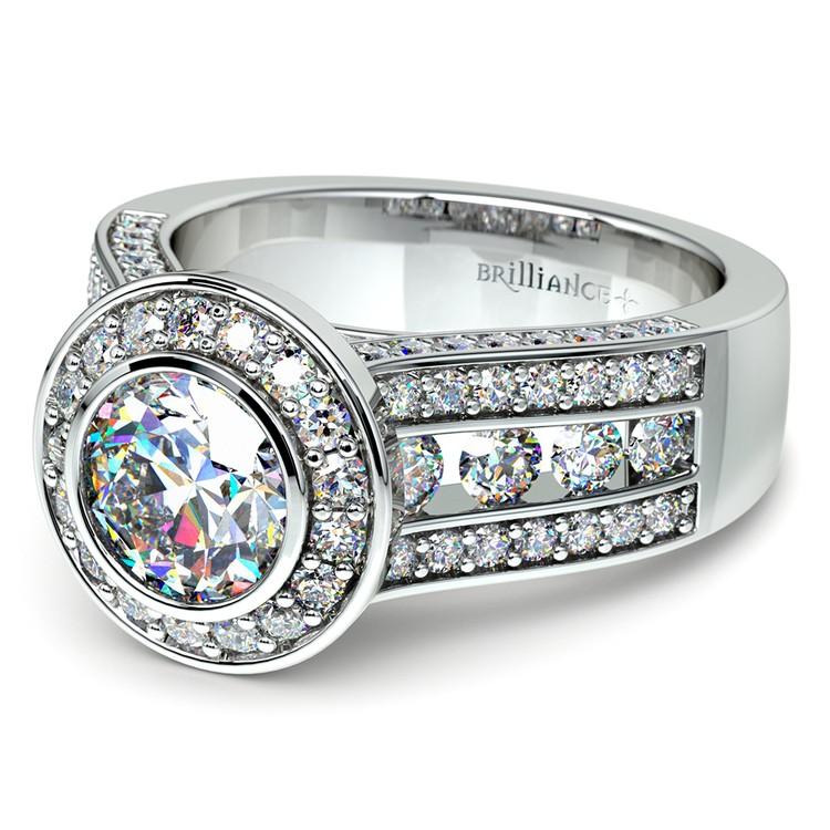 Halo Bezel Diamond Engagement Ring in White Gold | 04
