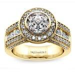 Halo Bezel Diamond Engagement Ring in Yellow Gold | Thumbnail 01