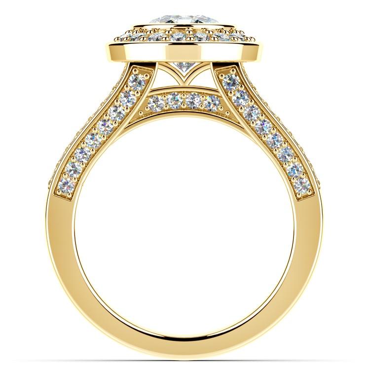 Halo Bezel Diamond Engagement Ring in Yellow Gold | 02