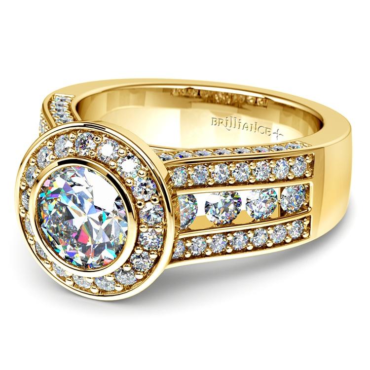 Halo Bezel Diamond Engagement Ring in Yellow Gold | 04