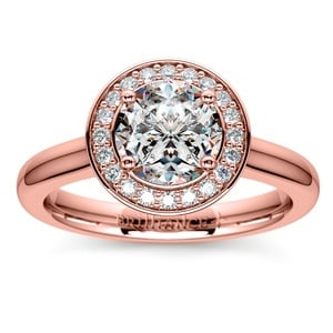 Halo Diamond Engagement Ring in Rose Gold (1/4 ctw)