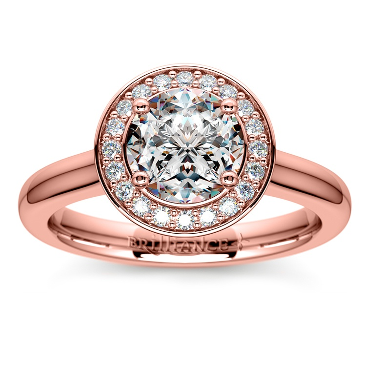 Halo Diamond Engagement Ring in Rose Gold (1/4 ctw) | 01