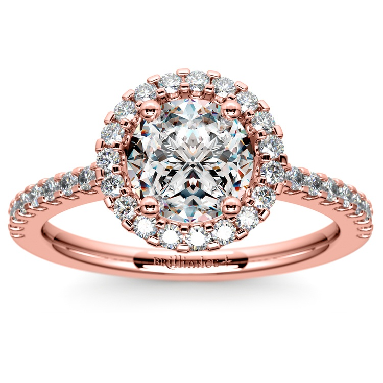 Halo Diamond Engagement Ring in Rose Gold | 01