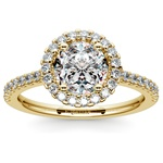 Halo Diamond Engagement Ring in Yellow Gold | Thumbnail 01