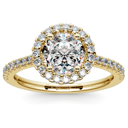 halo diamond engagement ring in yellow gold - Yellow Gold Wedding Rings