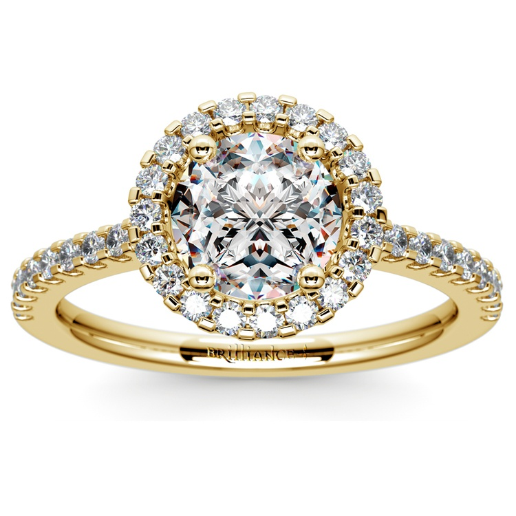 Halo Diamond Engagement Ring in Yellow Gold | 01