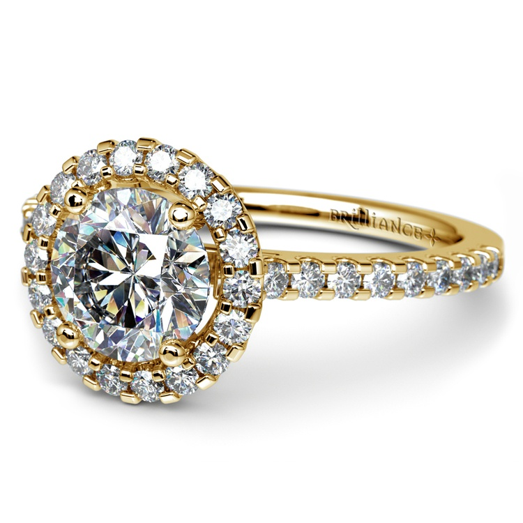 Halo Diamond Engagement Ring in Yellow Gold | 04