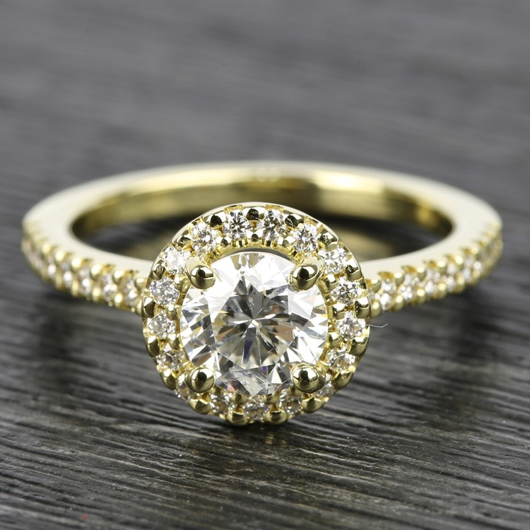 Halo Diamond Engagement Ring in Yellow Gold | 05