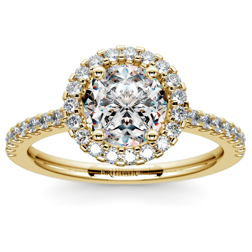 halo diamond engagement ring in yellow gold. Black Bedroom Furniture Sets. Home Design Ideas