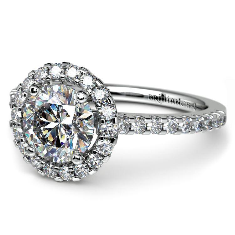 Halo Diamond Preset Engagement Ring in Platinum (1 1/2 ctw)  | 01