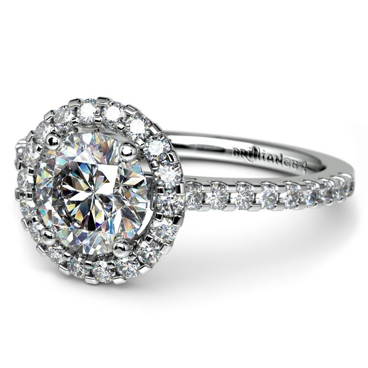 Halo Diamond Preset Engagement Ring in White Gold (1 1/2 ctw)    01