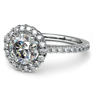 Halo Diamond Preset Engagement Ring in White Gold (1 1/4 ctw)