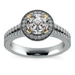 Halo Diamond Engagement Ring in Platinum with Gold Prongs | Thumbnail 01
