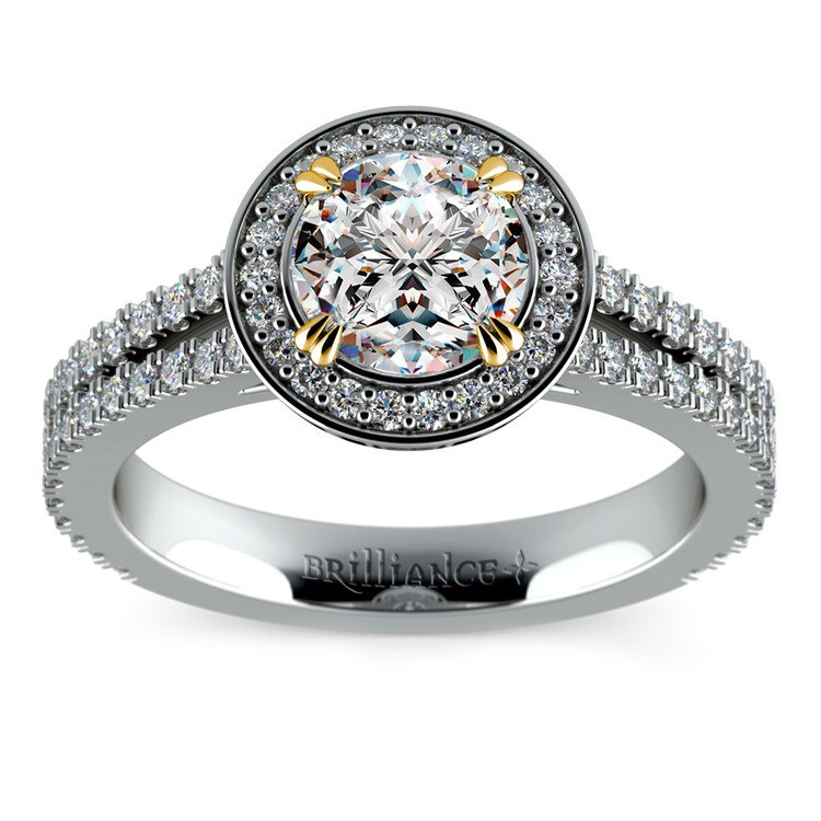 Halo Diamond Engagement Ring in Platinum with Gold Prongs | 01
