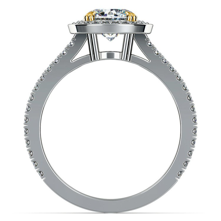 Halo Diamond Engagement Ring in Platinum with Gold Prongs | 02