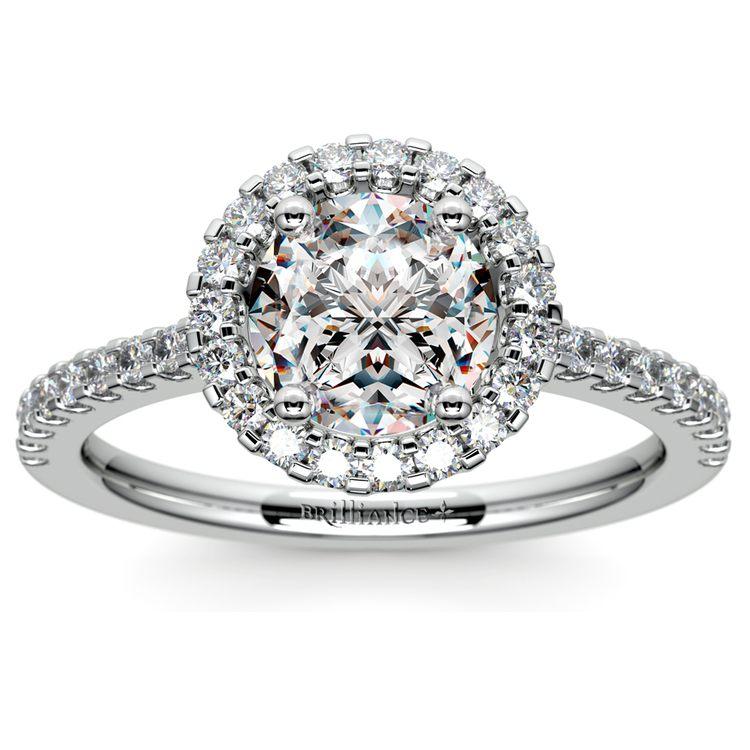 Halo Diamond Engagement Ring in Platinum | 01