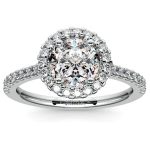 Halo Diamond Engagement Ring in White Gold