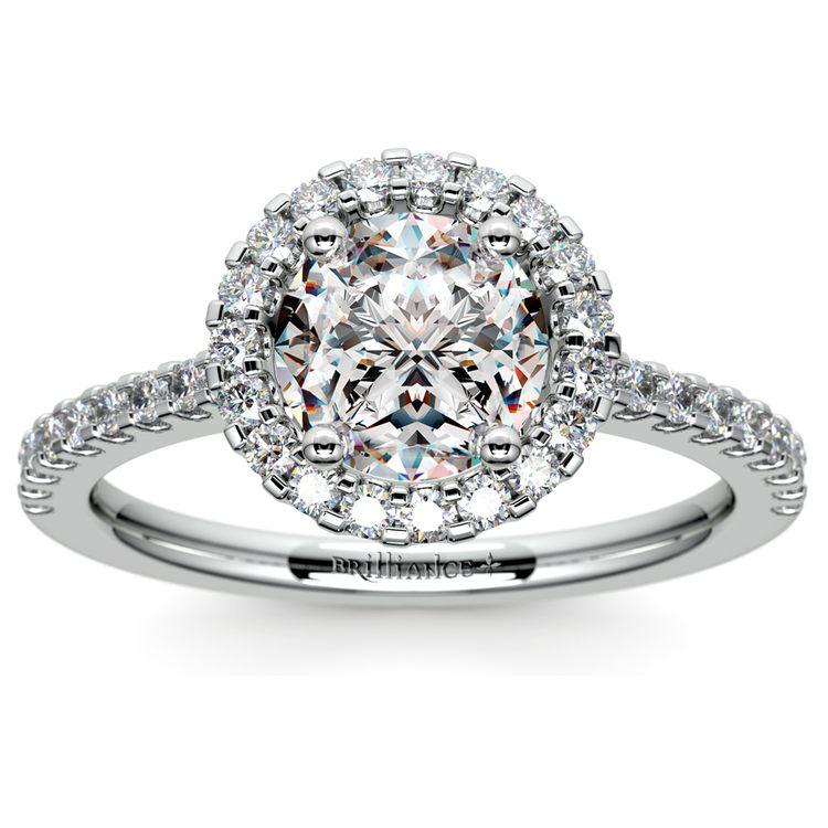 Halo Diamond Engagement Ring in White Gold | 01