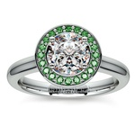 Halo Emerald Gemstone Engagement Ring in Platinum | Thumbnail 01