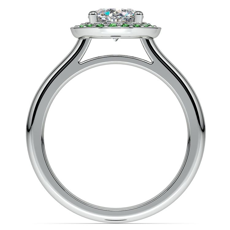 Halo Emerald Gemstone Engagement Ring in Platinum | 02