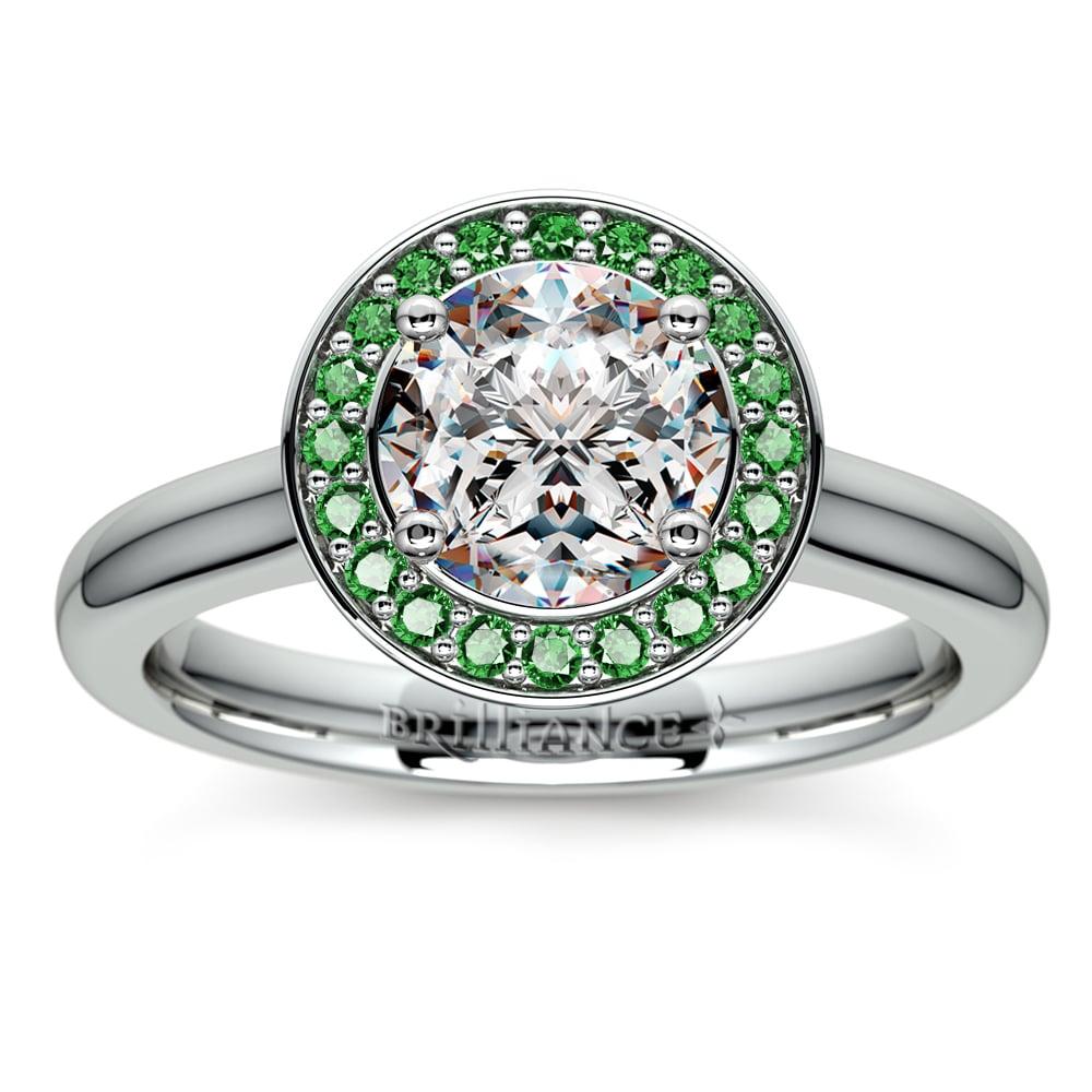 halo emerald gemstone engagement ring in platinum. Black Bedroom Furniture Sets. Home Design Ideas