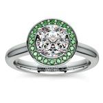 Halo Emerald Gemstone Engagement Ring in White Gold | Thumbnail 01