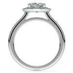 Halo Emerald Gemstone Engagement Ring in White Gold | Thumbnail 02