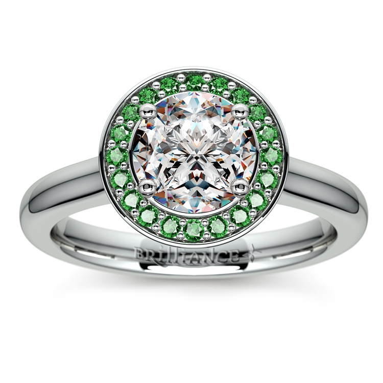 Halo Emerald Gemstone Engagement Ring in White Gold | 01